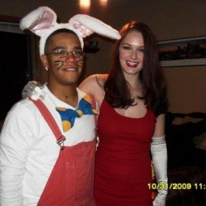 Jessica and Roger Rabbit with my fiance (at the time boyfriend). 2009.