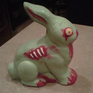 my own homemade zombie bunny from the ThinkGeek idea