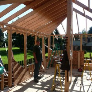 Starting to get the roof sheathing up.