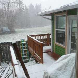 I was able to paint the exterior and get the decking and railing up before the snow started.