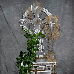 "Celtic Cross My new center piece. The base is designed to hold fog machine. The ""rocks"" in the base are far enough apart to allow air moveme"