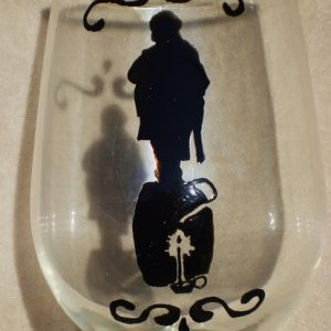 "Haunted Mansion Stretching Portraits ""TNT"" wine goblet"