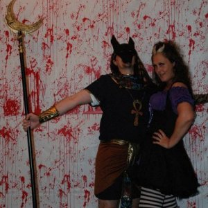 ME AND THE HUBBY. I'M OBVIOUSLY THE SCARIEST WITCH EVER AND HE'S ANUBIS. LOVED OUR BLOODY WALLS.