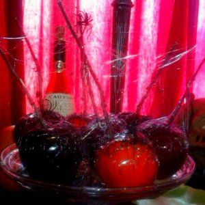 Black and Red Candi Apples. I spun sugar around the twigs and added some spiders
