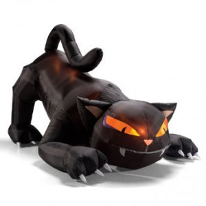 Inflatable Black Halloween Cat  Now let me start by telling you I  am not a fan of most inflatable props but I do own two; one of which is a giant bla