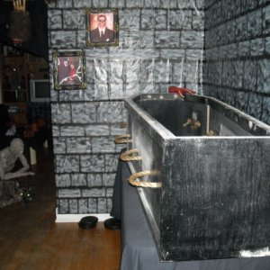 Another view of the coffin. Ha, check out the eyes.